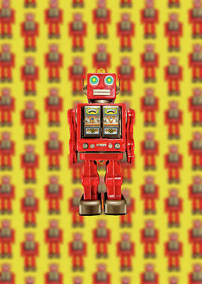 Poster featuring the photograph Red Tin Toy Robot Pattern by YoPedro