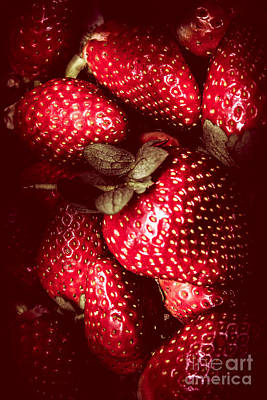 Red Toned Strawberries  Poster
