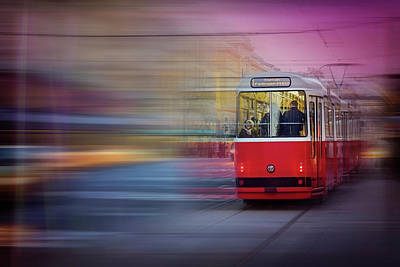 Red Tram In Vienna  Poster