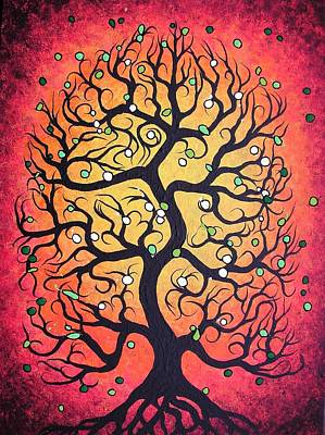 Red Tree Painting Poster by Jordanka Yaretz