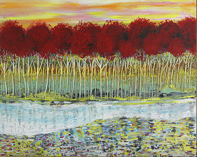 Red Trees At Water Poster by Sima Amid Wewetzer