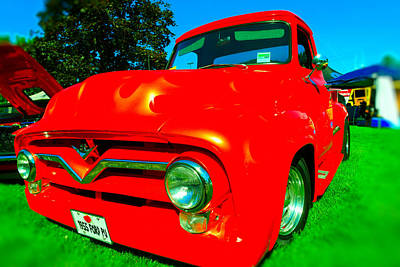 Red Truck With Flames Poster