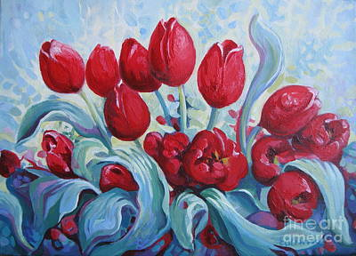 Poster featuring the painting Red Tulips by Elena Oleniuc