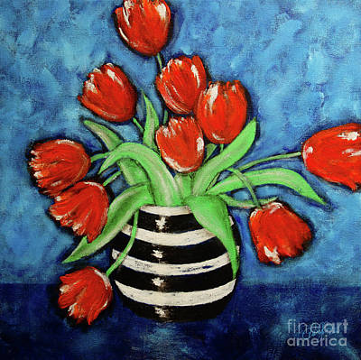 Red Tulips In A Vase Poster by Cheryl Rose