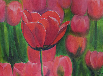 Red Tulips. Tulips In The Field. Red Flowers. Oil Paints. Poster by Elena Pavlova