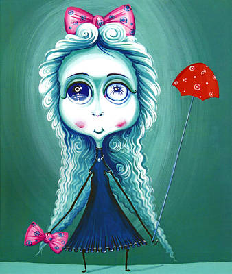 Red Umbrela - Girl With Big Eyes And Red Umbrella - Unusual Art Poster by Tiberiu Soos