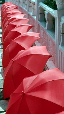 Red Umbrellas Poster by Douglas Pike