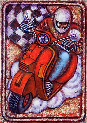 Red Vespa Poster by Mark Howard Jones
