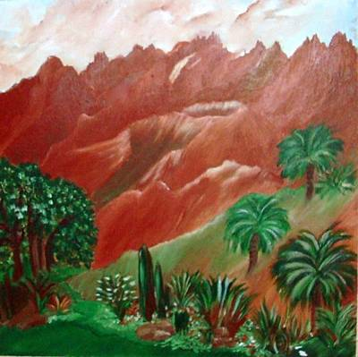 Poster featuring the painting Red Volcano by Sherri  Of Palm Springs