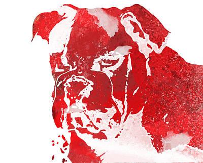 Red Watercolor Bulldog Poster