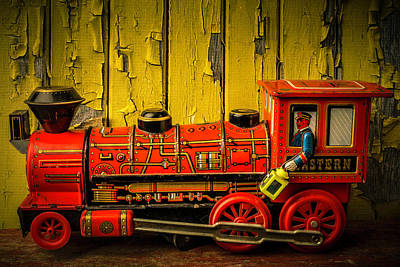 Red Western Toy Train Poster by Garry Gay