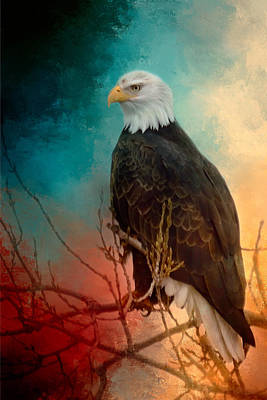 Red White And Blue Eagle Poster by Gene Wick