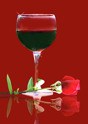 Red Wine And Rose Poster