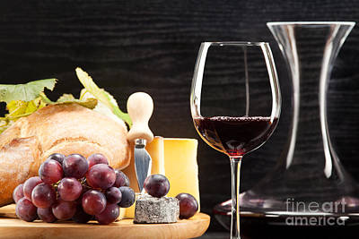 Red Wine With Wine Grapes Cheese Plate And Bread Poster by Wolfgang Steiner