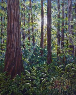Poster featuring the painting Redwoods by Amelie Simmons