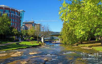 Reedy River Falls Flows On Greenville Sc Poster