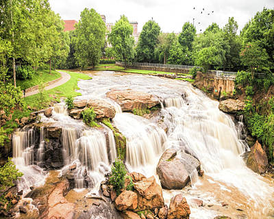 Poster featuring the photograph Reedy River Falls Greenville Sc by Bellesouth Studio