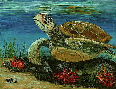 Poster featuring the painting Reef Honu by Darice Machel McGuire
