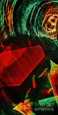 Reflected Abstraction On Wooden Background Poster by Elena Lir-Rachkovskaya