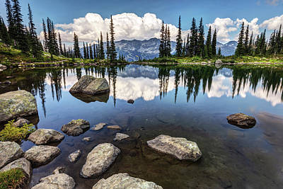 Poster featuring the photograph Reflection At Harmony Lake On Whistler Mountain by Pierre Leclerc Photography