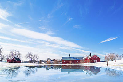Reflection Of A Barn In Winter Poster