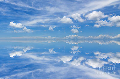 Reflection Of Beautiful Blue Sky With Clouds Poster by Caio Caldas