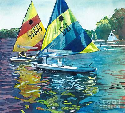 Poster featuring the painting Reflections After The Race by LeAnne Sowa