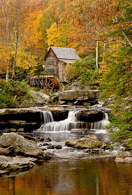 Reflections At The Glade Creek Grist Mill Poster