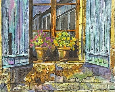 Poster featuring the painting Reflections In A Window by Carol Wisniewski