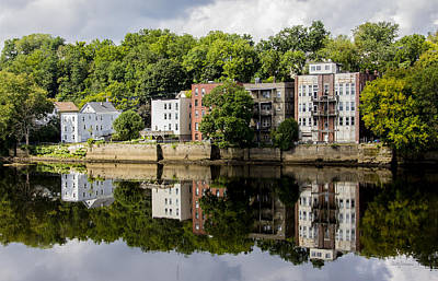 Reflections Of Haverhill On The Merrimack River Poster by Betty Denise