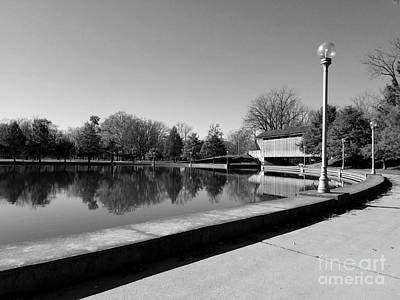 Reflections Of Round Lake - Black And White Poster