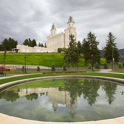 Reflections Of The Manti Temple At Pioneer Heritage Gardens Poster