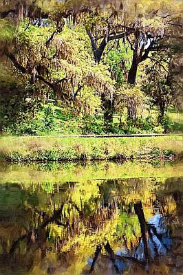 Poster featuring the photograph Reflective Live Oaks by Donna Bentley