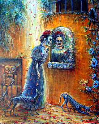 Poster featuring the painting Reflejo De Frida by Heather Calderon