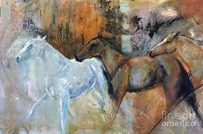 Poster featuring the painting Reflextion Of The White Horse by Frances Marino
