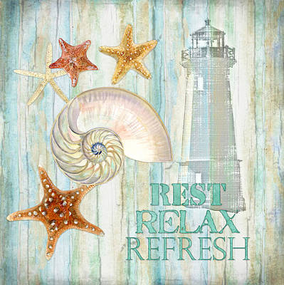 Refreshing Shores - Rest Relax Refresh Poster by Audrey Jeanne Roberts