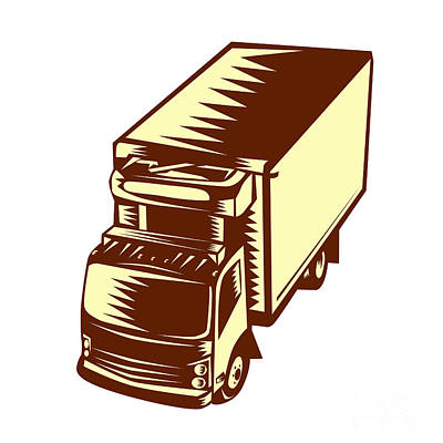 Refrigerated Truck Woodcut Poster