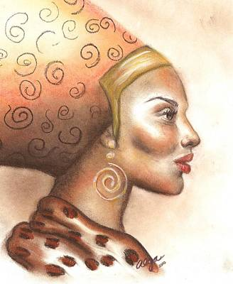 Poster featuring the pastel Regal Lady Profile by Alga Washington