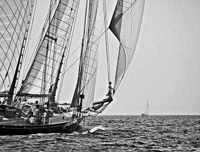Regatta Heroes In A Calm Mediterranean Sea In Black And White Poster