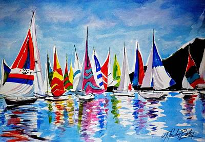 Regatta On Lake Almanor Poster by Therese Fowler-Bailey