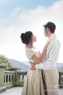 Regency Couple Embracing On The Terrace Poster