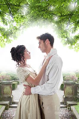 Regency Lovers In The Garden Poster by Lee Avison