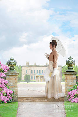 Regency Woman In The Grounds Of A Historic Mansion Poster
