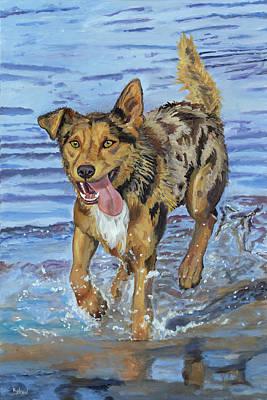 Reggie Portrait Of A Working Dog Poster by Kellie Straw