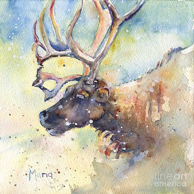 Reindeer In The Snow Poster by Maria's Watercolor