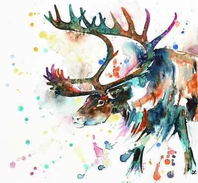 Poster featuring the painting Reindeer by Zaira Dzhaubaeva