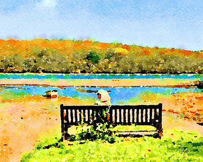 Poster featuring the painting Relax Down By The River by Angela Treat Lyon