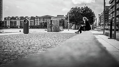 Relax In The City - Dublin, Ireland - Black And White Street Photography Poster