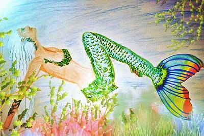 Mermaid Relaxing In The Shallows Poster by ARTography by Pamela Smale Williams