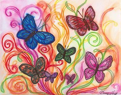 Releasing Butterflies I Poster by Denise Hoag